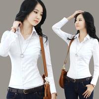 2013 spring and autumn slim long-sleeve cotton shirt solid color basic shirt slim waist female plus size shirt  FREE SHIPPING