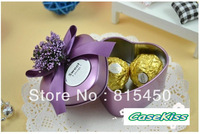 New Arrival Free shipping 30pcs/lot Purple Color Heart shape wedding tin box candy tin can metal tins