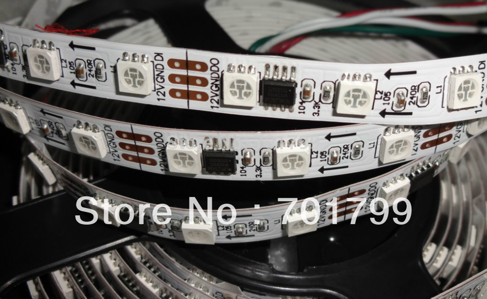 5m DC12V 60leds/m 20pcs ws2811 ic/meter(20pixels) led digital strip;IP33;non-waterproof(China (Mainland))