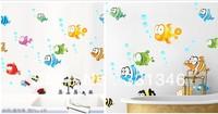 1pcs New Cartoon Colorful Sea Fishes Wall Sticker Decal Home House Decal Decor Room Bath Crock Windows 45*65 CM