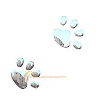R1B1 Car Sticker 3D Dog Bear Footprints Chrome Badge Emblem Car Sticker Decal
