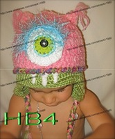 free shipping,5piece/lot Pixar Monsters Inc University-Baby pink One Eyed Monster crochet Hats, children's handmade Beanie cap