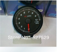 Black Face 60mm 12V 270 Degree Scale White Light for Car APEXI Tachometer Guage