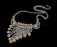 Free shipping!!!Natural Cultured Freshwater Pearl Jewelry Sets,Exaggerated, earring & necklace, with Rhinestone, Round, natural