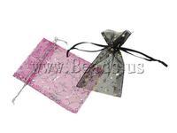 Free shipping!!!Jewelry Drawstring Bags,Tibetan Jewelry, Organza, printing, translucent, mixed colors, 19x30cm, 500PCs/Bag