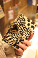 Ddpopo 2013 short design wallet female japanned leather leopard print cowhide wallet card holder love rhinestone 616