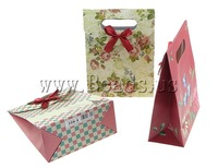 Free shipping!!!Fashion Gift Bag,Jewelry Accessories, Paper, with Satin Ribbon, mixed colors, 125x166x60mm, 120PCs/Bag