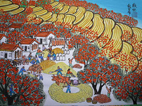 Chinese rural golden autumn, harvest. Village. Persimmon tree. Chinese peasant painting is so beautiful.