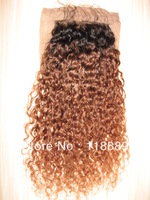 Brazilian Virgin Hair Closure,12'' #1bT30 Kinky Curl Lace closure  4''X4'' Top Closure
