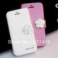 Free shipping New arrival rhinestone leather case phone  for apple iphone4 s   phone case for apple 5 female 300003
