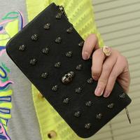 2014 vintage punk skull wallet female male long design women's wallet mobile phone women's handbag