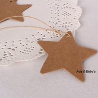 Free Shipping Blank Five-point Star Kraft Paper Bookmark Hangtags with Rope, 6cm
