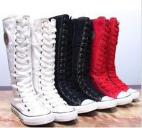2013 autumn upper height tube canvas shoes Men long boots platform girls platform boots