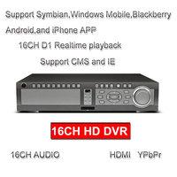 CCTV Security camera DVR recorder 16CH H.264 HDMI YPbPr  VGA Spot Loop output mobile phone monitor