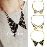 New Fashion Crystal Angle Wings Necklace Retro Rhinestone Choker Collar Pendant LKX0136 dropshipping free shipping