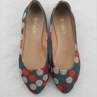 Lady Princess flat shoes Korean pointed red dots splicing low shoes