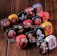Free Shipping!  1.28$ / piece! Mini Tin Box Candy Box Jewel Box.16 Different  Marilyn Monroe Patterns! Very Useful ! 5.5*4*2.5cm