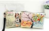 2013 new women small vintage print doodle envelope day clutch bag female leather messenger bags 24 designs high quality