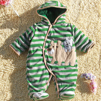 Free Shipping Wholesale 2013 autumn Winter warm cotton romper kids bodysuit baby boy cartoon carters baby clothes