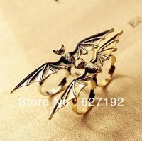 Hot Selling  Fashion Accessories Punk Vintage Double Finger Ring Bat style Adjustable opening Ring Men Rings Women Ring