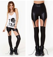 Fashion Me CC-0212013 New Women Fashion Black milk Leggings Leather Leggings Hole Pants Free Shipping