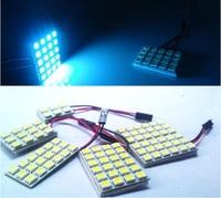 10x per lot 18LED 5050SMD car reading light interior 24LED panel lamp 12V DC LED bulb T10 + double peak adapters for Mazda
