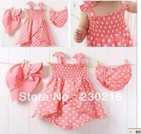 80-90-100 Hot sale 3sets/lot baby Girl Cute pink bow dot dress + short pants +kids caps ,Girl 3pcs suit.