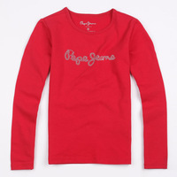 Pepe jeans children's clothing female child spring basic shirt baby long-sleeve T-shirt solid color child t-shirt