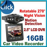 "Free Shipping Sale H198 Car DVR Video Registrar with 115 Degree View Angle 2.5"" LCD 6 IR LED Night Vision DVR Car Camera"