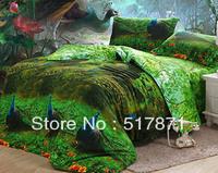 Free peacock 3d printing bedding set green color bed sheet Cotton bedlinen sets Duvet/quilt/comforter cover sets Queen bed OEM