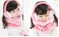 winter children flannel collar and gloves set