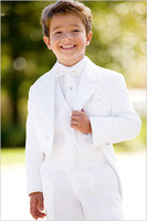 HOT SALE ! 2013 new fashion four pcs boys white tuxedo boys white suit free shipping