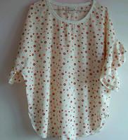 Free shipping Milk geometric patterns loose o-neck graphic ruffled pleated sleeve chiffon shirt