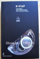 promotion! 2pcs/lots k416 P headphones Retail box K416P headphone k416 p k 416p earphones new boxed K416P
