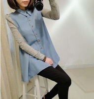 woman new fashion loose denim turn-down collar full sleeve button open front blouse free shipping A604-1-8861