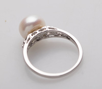 freshwater white color pearl 2013 wedding band ring