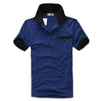 2013 summer men's clothing fashionable casual slim short-sleeve T-shirt male turn-down collar polo shirt blue stripe