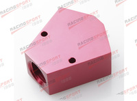"3/8"" in 3/8"" out Female Y-Block Fitting with 1/8"" npt gauge port YBLK-05 red"