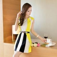 Summer ol slim one-piece dress sexy brief fashion patchwork stripe sleeveless dress mini dress S-XL WITH BELT