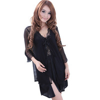 Free shipping 2011 summer black temptation spaghetti strap nightgown gauze transparent sexy sleepwear twinset robe lingerie