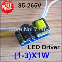 50pcs/lot, (1-3)X1W led driver, 1X1W, 2X1W, 3X1W lamp Transformer, 85-265V inside driver, LED lamp E27 GU10 3W driver, freeship