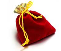 Free Shipping 100pcs/Lot 7x9cm Red Gold Border Retail Jewelry Velvet Gift Packaging Bags & Pouches