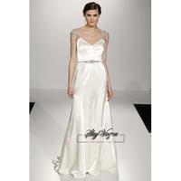 13W007 V-Neck Beaded Satin Brush Train Gorgeous Luxury Unique Brilliant Bridal Wedding Dress Free Shipping