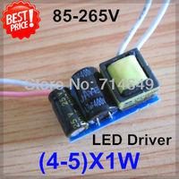 50pcs/lot, (4-5)X1W led driver, 4W 5W lamp Transformer, 85-265V inside driver, LED DIY lamp E27 GU10 4W 5W driver, freeship
