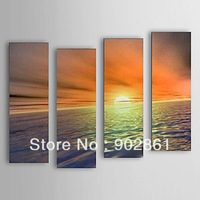 "[funlife]-30x90cm(12""x35.5"") 4pcs/set Free shipping Pure Hand Painted Elegant Sunrise at Sea oil painting  with Stretched Frame"