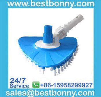 Swimming pool flexible triangular vacuum head brush with EZ Clip Handle