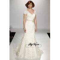 13W008 V-Neck Mermaid Lace Brush Train Gorgeous Luxury Unique Brilliant Bridal Wedding Dress