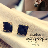 promotion women girls fashion lovely jewelry vintage black smooth cut acrylic alloy big square stud earrings free shipping