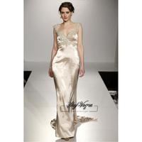 13W009 V-Neck A-Line Satin Brush Train Gorgeous Luxury Unique Brilliant Bridal Wedding Dress Free Shipping