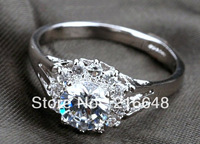 New arrival Platinum Plated Sparkling 1 carat Simulated Diamond wedding jewelry rings for women